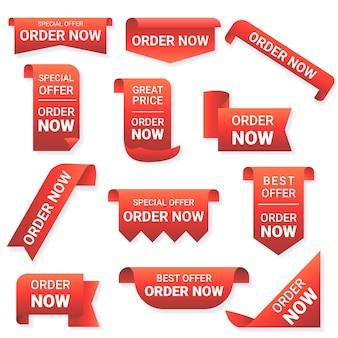 Set di adesivi di ordine creativo ora