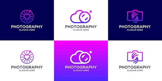 Set di modello di logo di fotografia creativa.