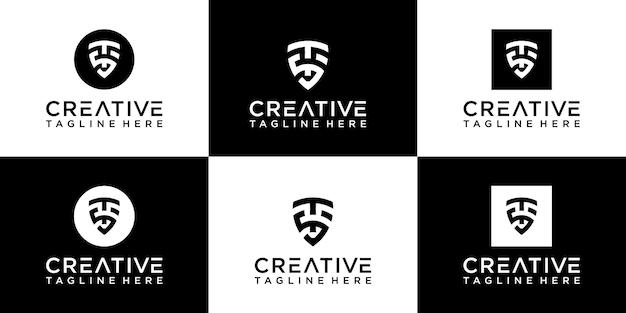 Set di logo monogramma scudo creativo