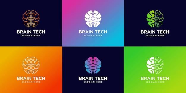 Set di illustrazione creativa di design del logo della tecnologia del cervello intelligente, con un concetto unico vettore premium