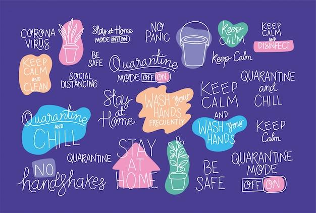 Set di testi creativi sul design di rimanere a casa