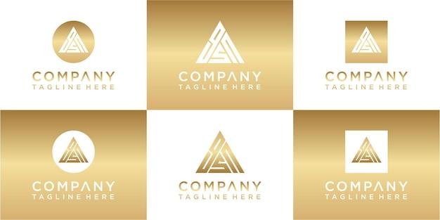 Set di design del logo in oro monogramma triangolo creativo creative