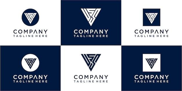 Set di design del logo monogramma triangolo creativo