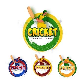 Set di carattere campionato di cricket con battitore giocatore in azione posa ed effetto tratto di pennello su priorità bassa bianca.