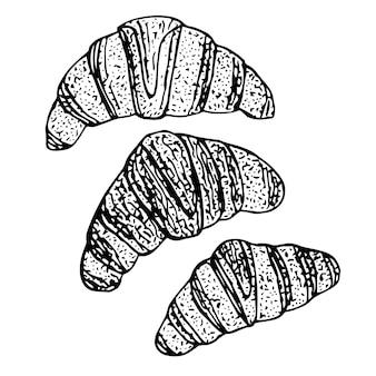 Set di croissant, illustrazione vettoriale, schizzo disegnato a mano