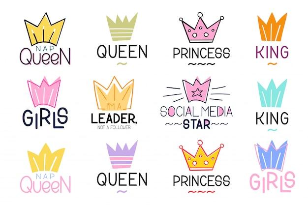 Set di corona e lettering citazione di ispirazione