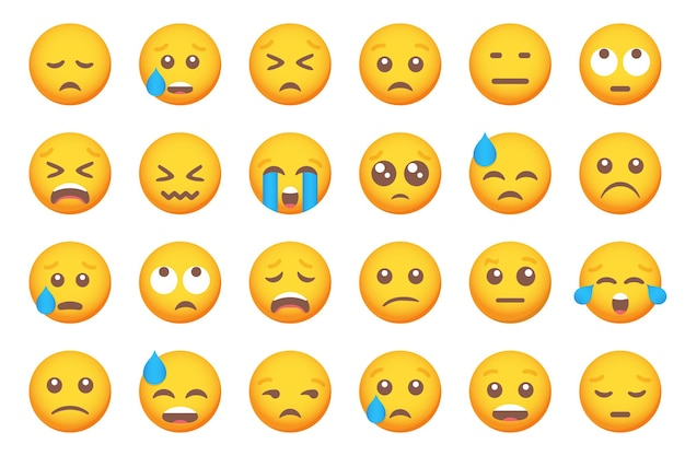Set di icone di sorriso emoticon piangente. insieme di emoji dei cartoni animati. set di emoticon vettoriale