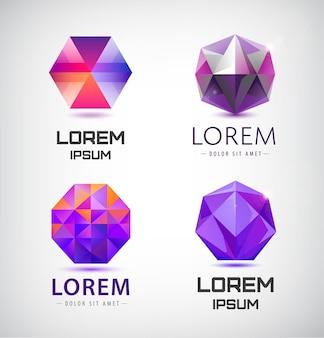 Set di cristalli, loghi sfaccettati, loghi astratti 3d, loghi di gioielli con gemme, icone di identità