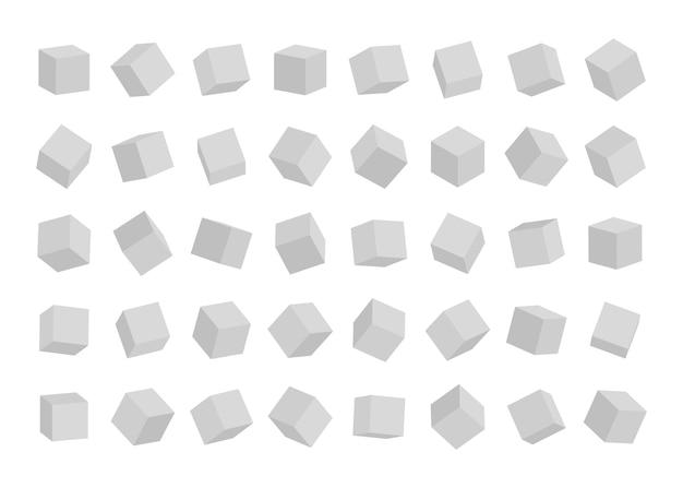 Set di cubi in diversi angoli di visualizzazione isolati su sfondo bianco.