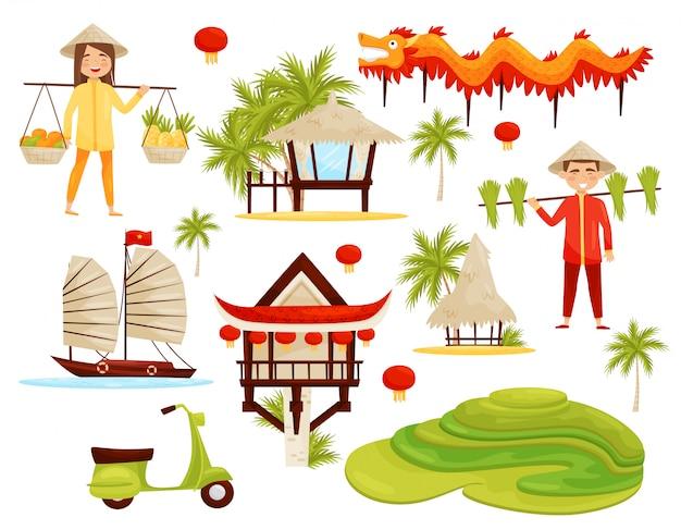 Set di simboli culturali del vietnam. drago, terrazze di riso, architettura, trasporti e persone