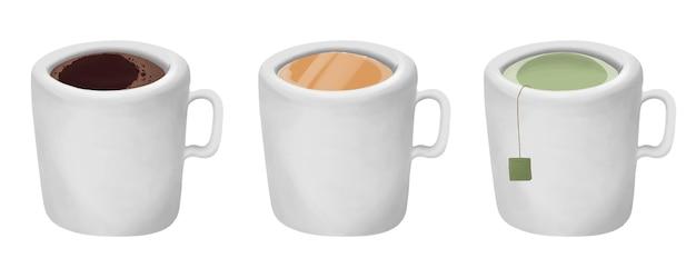 Set di una tazza con succo di caffè e tè verde