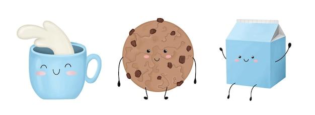 Set di tazza con biscotti al latte con scatola di gocce di cioccolato con latte isolato