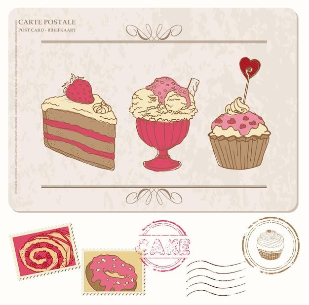 Set di cupcakes sulla vecchia cartolina con francobolli