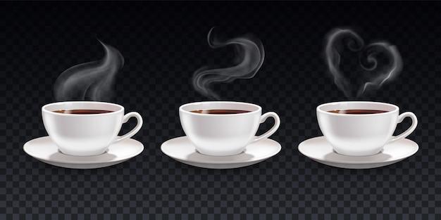 Set di tazze di caffè nero con vapore
