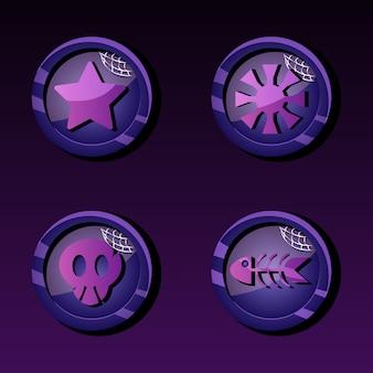 Set di icone di moneta di valuta con tema di halloween per elementi di asset gui