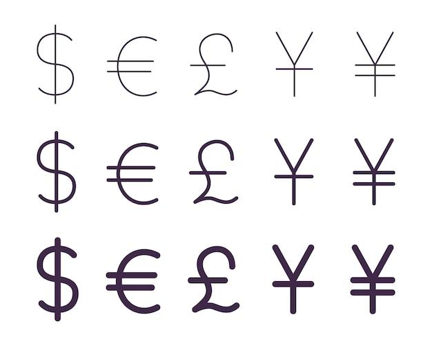 Insieme di segni di valuta