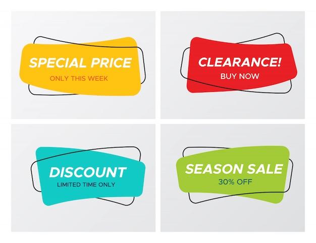 Set di tag di vendita rettangolo a forma di curva morbida