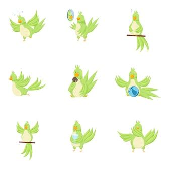 Set di carino adorabile pappagallo verde in diverse azioni quotidiane. stile piatto.