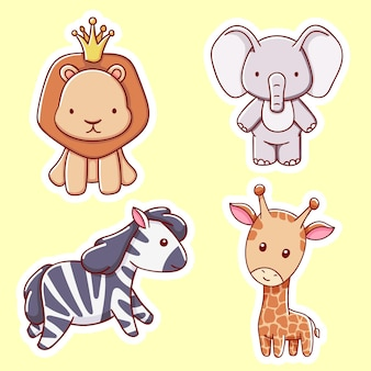 Set di simpatici animali africani, leoni, elefanti, giraffe, zebre, illustrazione vettoriale in stile cartone animato