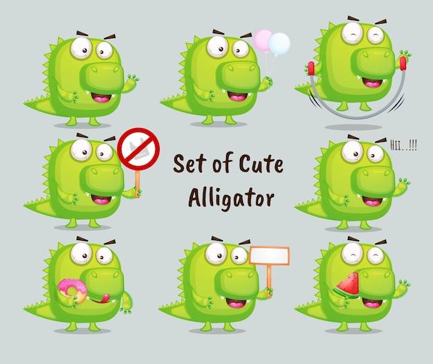 Set di alligatore carino con diverse pose. personaggio dei cartoni animati degli animali vettore premium