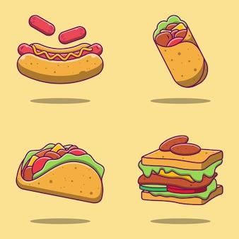 Set di illustrazioni di cibo americano carino