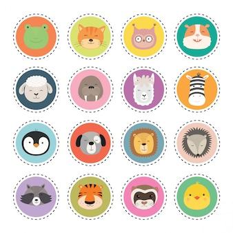 Set adesivi con facce di animali carini.