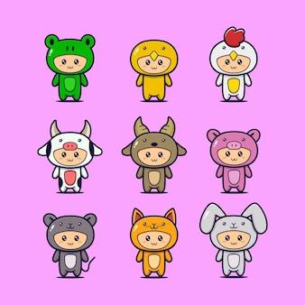 Set di simpatici animali mascotte