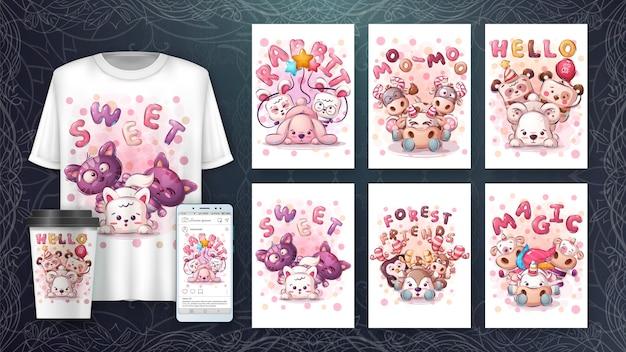 Impostare simpatici poster di animali e merchandising