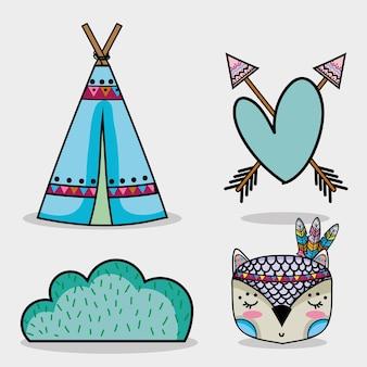 Impostare simpatici animali tribali nella foresta