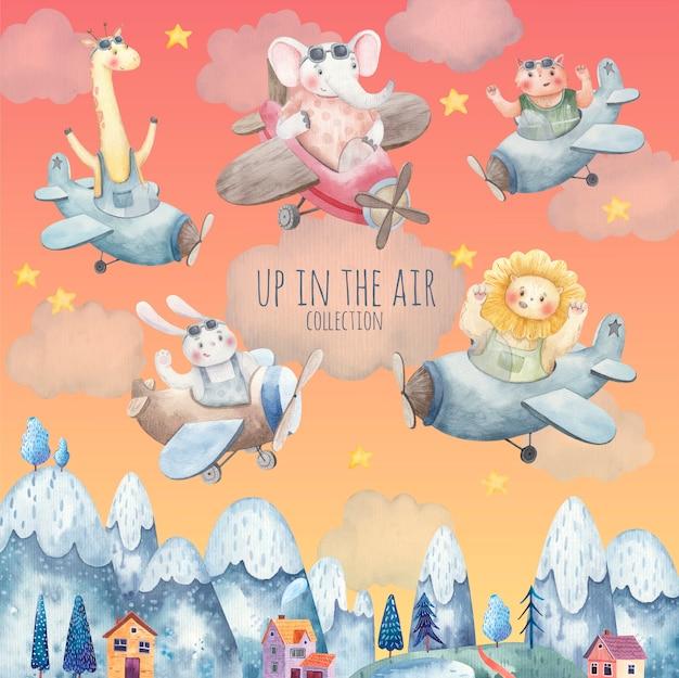 Set di simpatici animali sugli aeroplani che volano sopra la città, montagne, alberi, illustrazione dell'acquerello carino per bambini