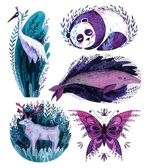 Set di simpatici animali panda, cicogna, balena, cervo e farfalla