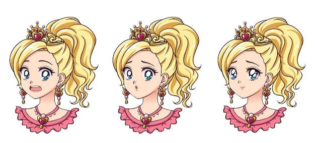 Una serie di cute anime principessa con diverse espressioni capelli biondi grandi occhi azzurri