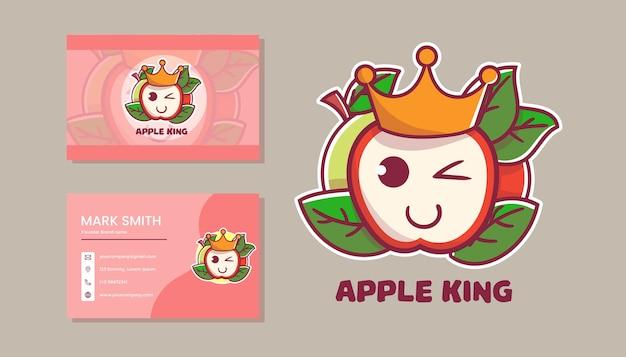 Set di simpatico logo mascotte re mela con nome carta.