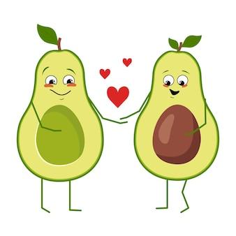 Set di simpatici personaggi di avocado con emozioni felici eroi frutta