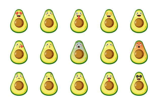 Set di avocado carino con espressioni