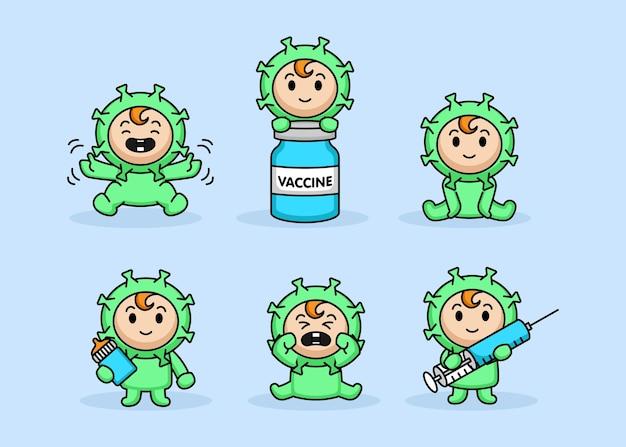 Set di simpatico bebè in costume da virus covid-19