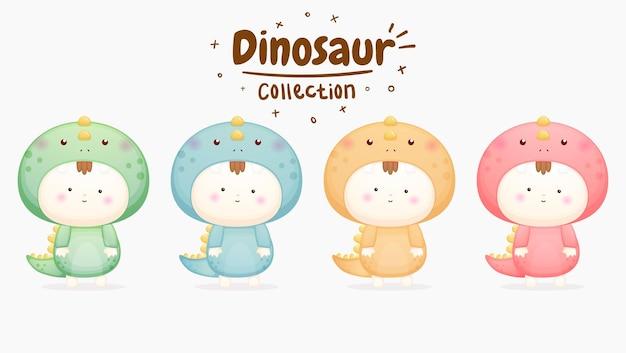 Set di bambino carino in costume da dinosauro con colori diversi vettore premium