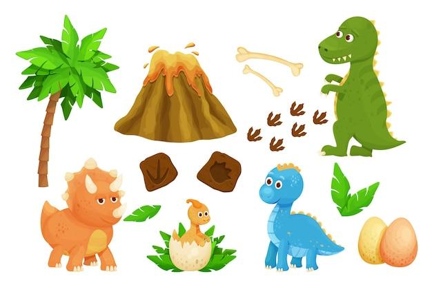 Impostare simpatici cuccioli di dinosauro con impronta di uovo di dinosauro foglie giurassiche vulcano e ossa in un cartone animato