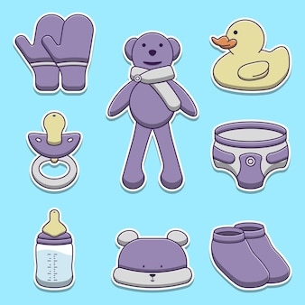 Set di illustrazioni di oggetti per bambini carino