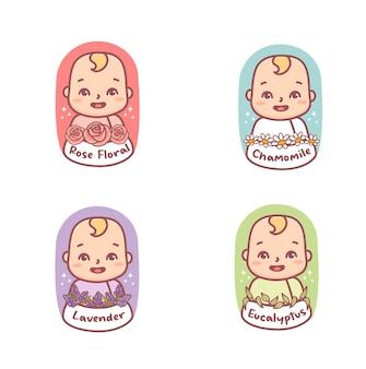 Set di fragranze con logo cute baby per cosmetici e imballaggi per bambini. camomilla,rosa,eucalipto,lavanda.