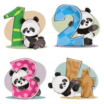 Set di simpatici orsetti panda con numeri