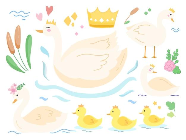 Set di cute baby coniglio illustrazione del lago dei cigni