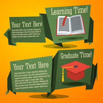 Set di carino torna a banner scolastici con libro di testo e cappello di laurea. con spazio per il testo dell'annuncio.