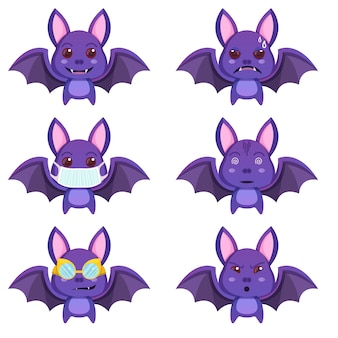 Set di simpatici pipistrelli