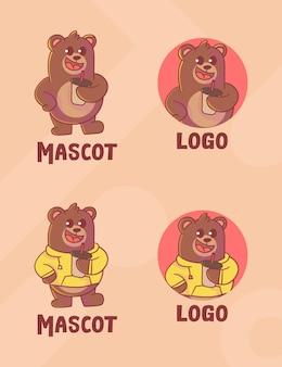 Set di simpatico logo mascotte caffè orso con aspetto opzionale.