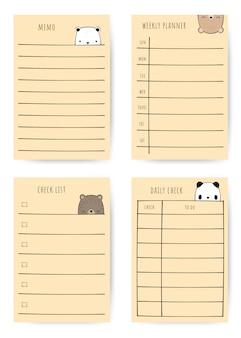 Insieme del pianificatore di nota di scarabocchio del fumetto della famiglia dell'orso sveglio
