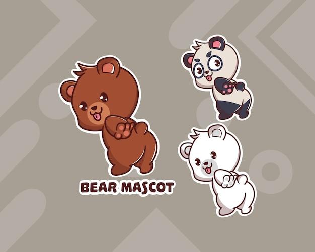Set di simpatico orso, panda, logo mascotte polare con aspetto opzionale.