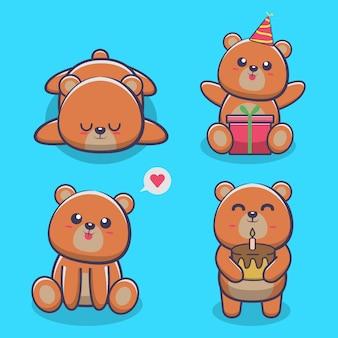 Set di simpatico orso icona vettore illustrazione. isolato. stile cartone animato animale adatto per adesivo, pagina di destinazione web, banner, volantino, mascotte, poster.