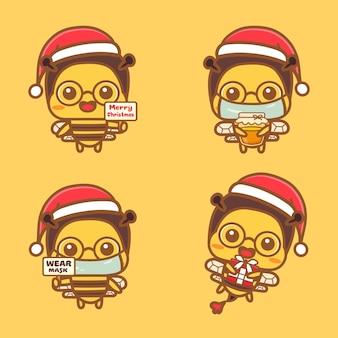 Set di simpatici personaggi di api che celebrano il nuovo concetto normale di natale indossano una maschera e tengono il miele.
