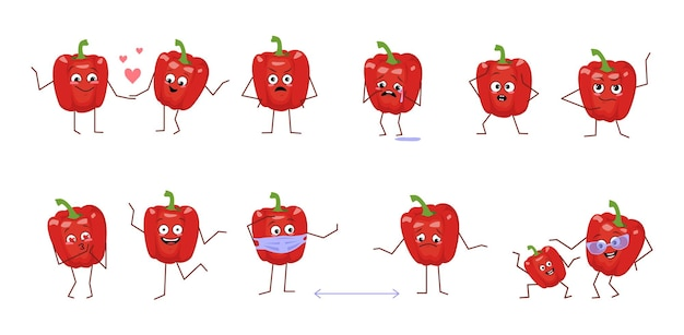 Set di simpatici personaggi di peperoni con diverse emozioni isolati su sfondo bianco. gli eroi buffi o tristi, le verdure rosse giocano, si innamorano, si tengono a distanza. illustrazione piatta vettoriale